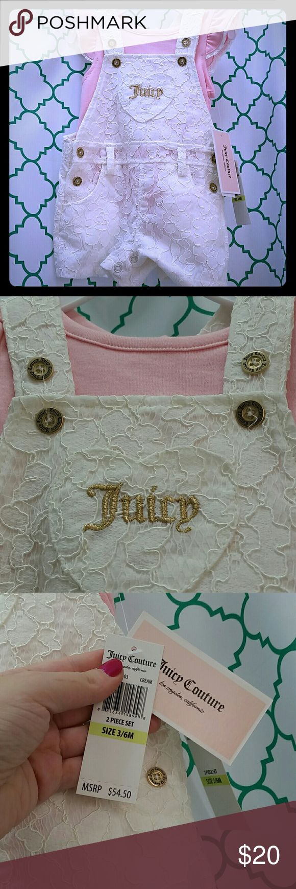 End of summer clearance Juicy Couture Infant Set Brand new with tags never been worn white lace overall shorts with pink t-shirt.  Size 3-6 months. Gold stitching and gold juicy Couture logo buttons. Juicy Couture Bottoms Casual