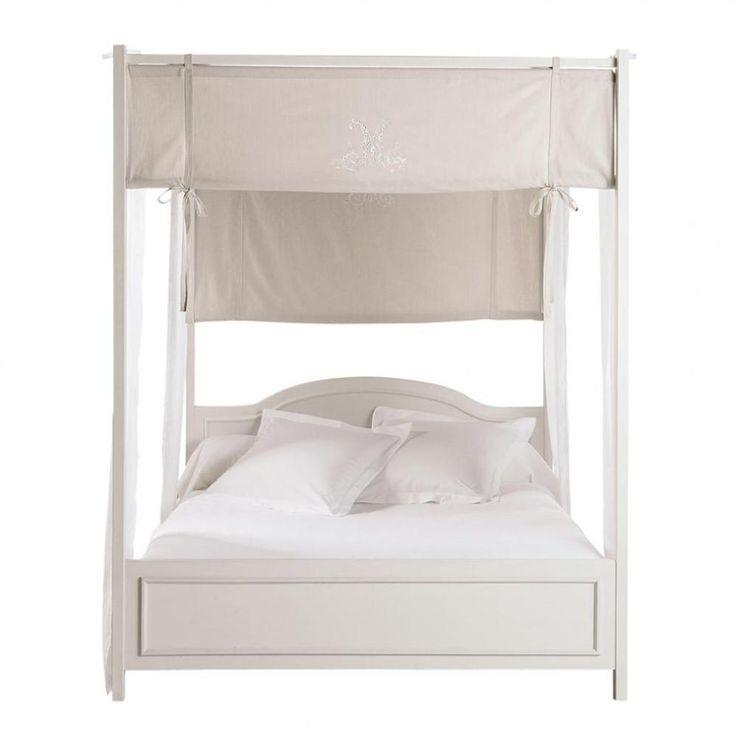 Cama con dosel 160 × 200 cm de madera en blanco Manosque | Maisons du Monde