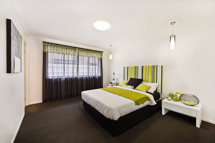 #Bedroom #ideas from Ausbuild's Segal display #home. Use multi-tonal fabrics to create a multidimensional look.