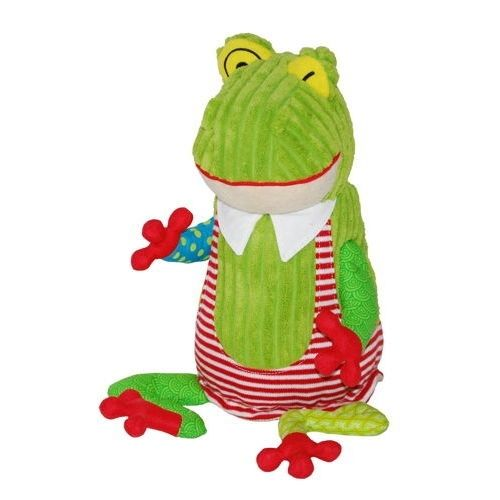 The Original Croakos the Frog from Les Deglingos; with his dashing looks he is a real charmer and made from super soft thick corduroy, jute fabric and a patchwork of hip patterns he is a frog to become attached to. Don't worry if he gets a bit grubby, he goes in the washing machine!