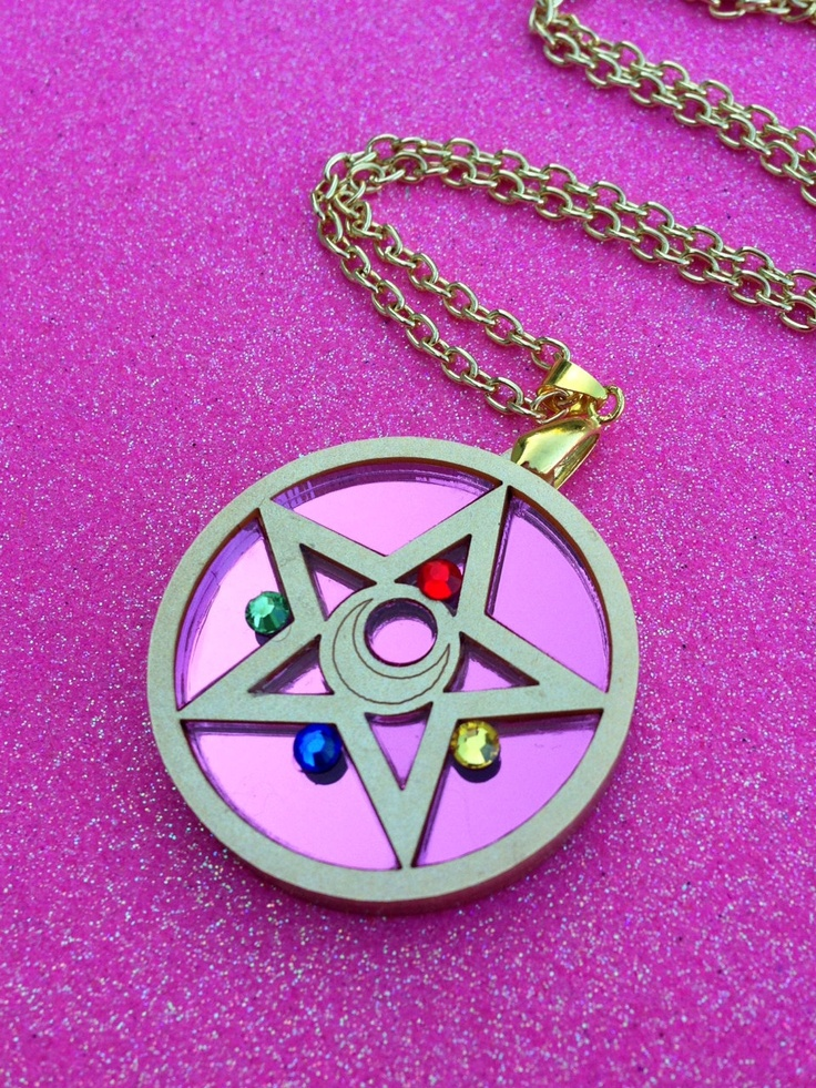 READY TO SHIP Sailor Moon Crystal Star Compact by Ge3kedUp on Etsy. , via Etsy. Show everyone how much you love Sailor Moon with this Crystal Star Compact Necklace It is made from laser cut acrylic in gold and mirror pink with swarovski crystals to finish it off PLEASE NOTE: This does not open! IN STOCK AND READY TO SHIP! Perfect as a gift...Or just to spoil yourself :) $30.00