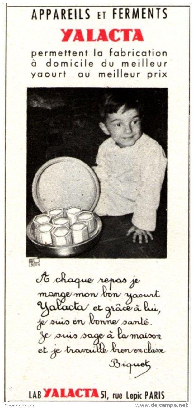 Original-Anzeige /Publicité 1957 - (en français)  APPAREILS ET FERMENTS YALACTA - ca. 45 x 110 mm