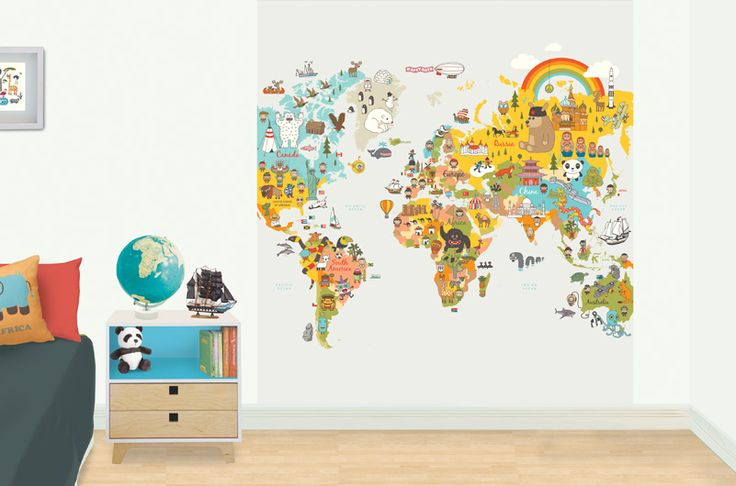 Fun world map - kid's bedroom mural.