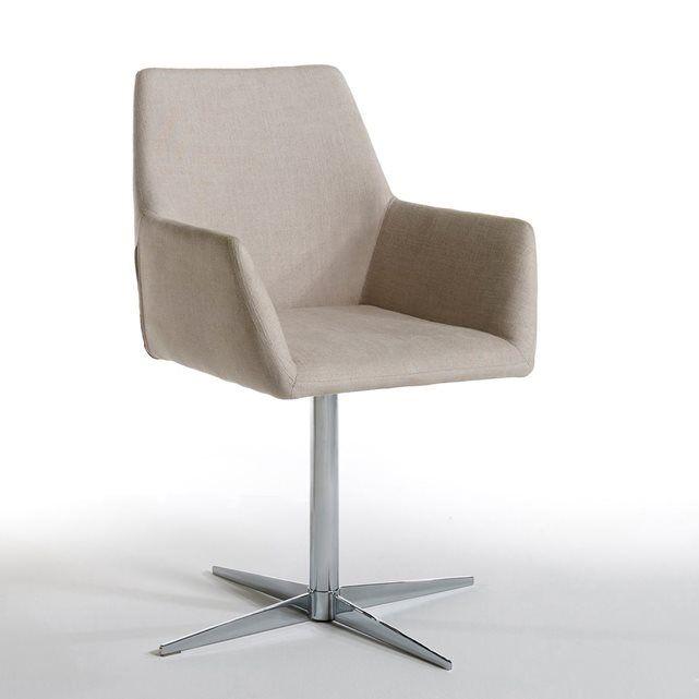 Fauteuil de bureau Script AM.PM : prix, avis & notation, livraison.  Le fauteuil Script. Son piètement croisillon et son assise pivotante lui donnent un look vintage irrésistible. Caractéristiques : - Structure en tubes d'acier- Piètement et colonne en acier chromé- Revêtement tissu 80% viscose, 20% lin- Assise garnie mousse polyéther 30 kg/m3 + 16kg/m3 + fibres polyester 250g/m2- Dossier garni mousse polyéther 16kg/m3 recouverte de fibre polyester-...