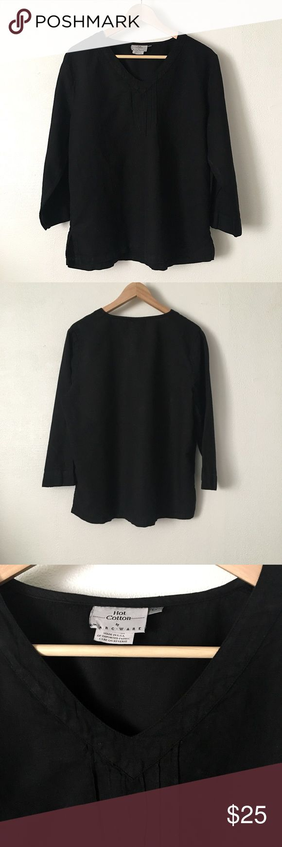 🆕 Listing!  Hot Cotton by Marc Ware   Tunic Black cotton/linen blend tunic.  V-neck with pleat detail. Hot Cotton by Marc Ware Tops Tunics