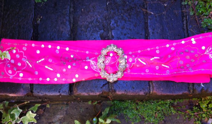 Pink Sequined Satin Belt with Ornate Buckle