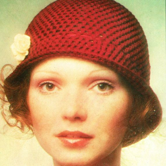 PDF Vintage 1970s Ladies Cloche Hat Crochet Pattern, 1920s style, Boho, Period, Romantic, The Great Gatsby, City-Chic, Ingenue, Theda Bara