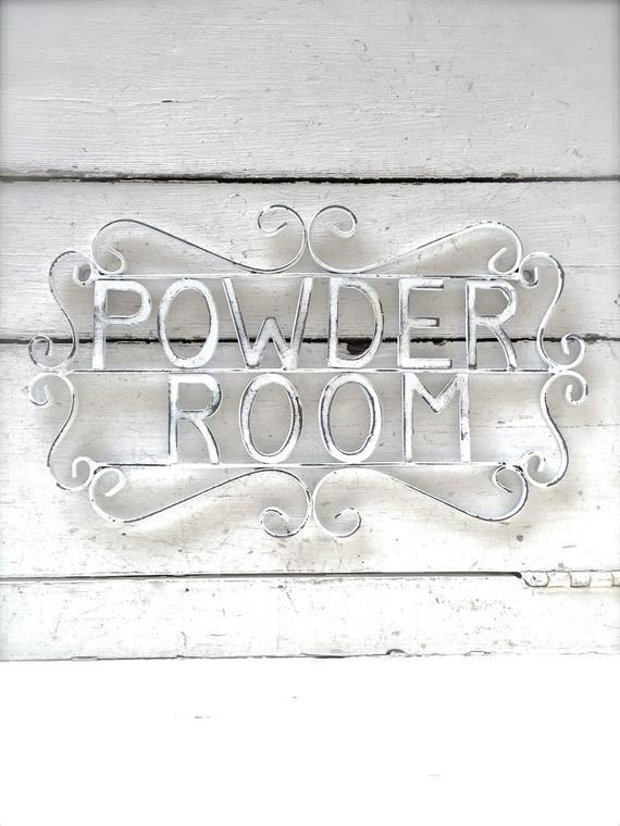 Powder Room Sign Metal Bathroom Sign Shabby Chic Decor Bath Decor Powder Room Decor Shabby Chic Bathroom Sign Metal Powder Room Sign Powder Room Signs Powder Room Decor Bathroom Signs