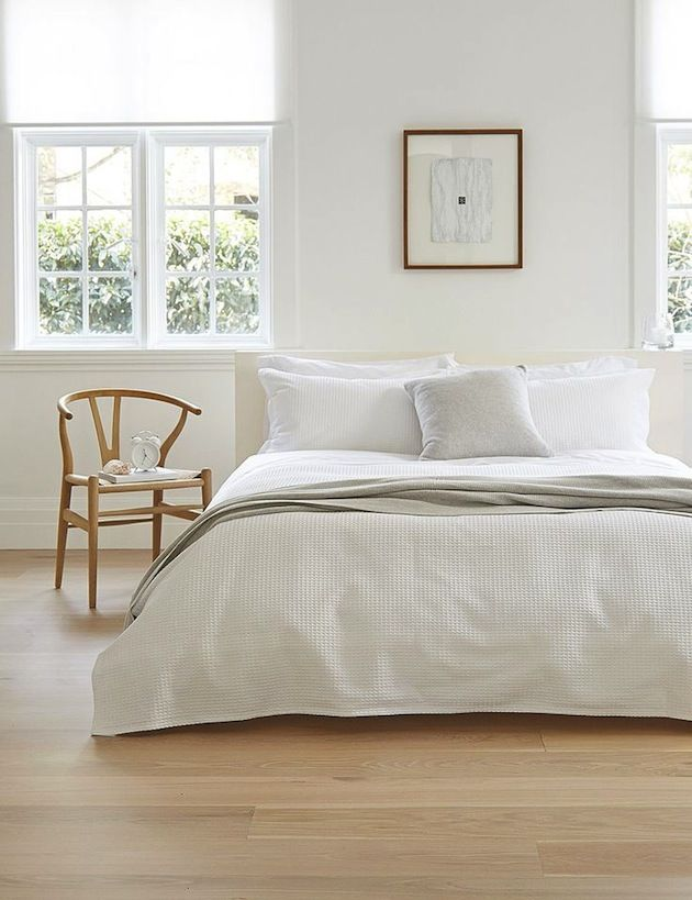 What does your bedroom mean to you? How do you want to feel when you go to sleep? And how do you want to wake up? This one is very minimalistic, whites & light wood. It relaxes the mind.