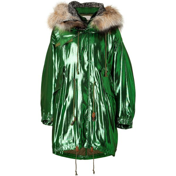 Preen by Thornton Bregazzi - Metallic Silk-Blend Orion Parka ($1,222) ❤ liked on Polyvore featuring outerwear, coats, jackets, coats & jackets, jacken, green, parka, women, cropped coat and parka coats
