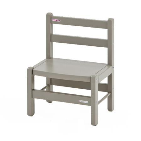 Chaise basse, bois laqué gris