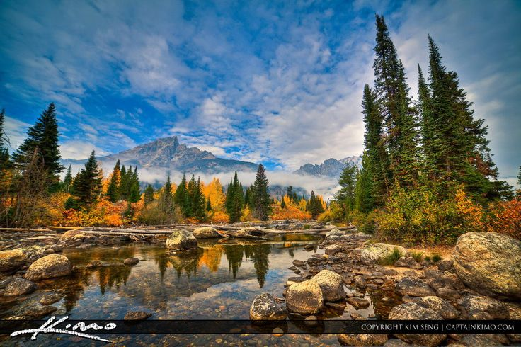 Creek with Mountain at Grand Teton National Park Wyoming