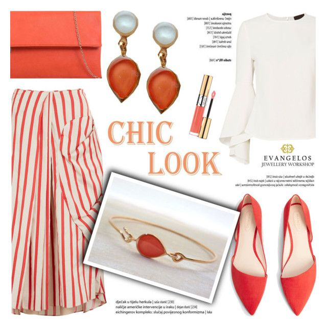 Chic Look! by helenevlacho on Polyvore featuring polyvore fashion style Exclusive for Intermix Christopher Esber MANGO KoKo Couture Yves Saint Laurent clothing, Evangelos Jewellery