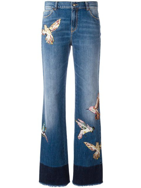65ffcf5a42 Red Valentino Birds Patch Straight Jeans