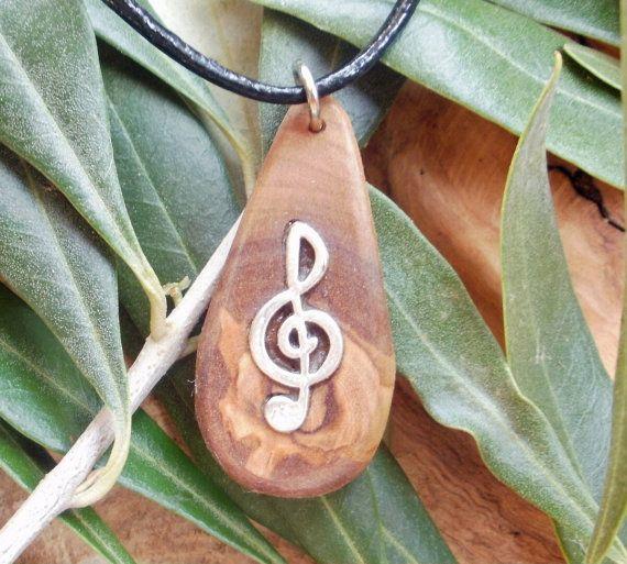 Musical pendant.  Hand carved Greek Olive wood by ellenisworkshop, $31.00