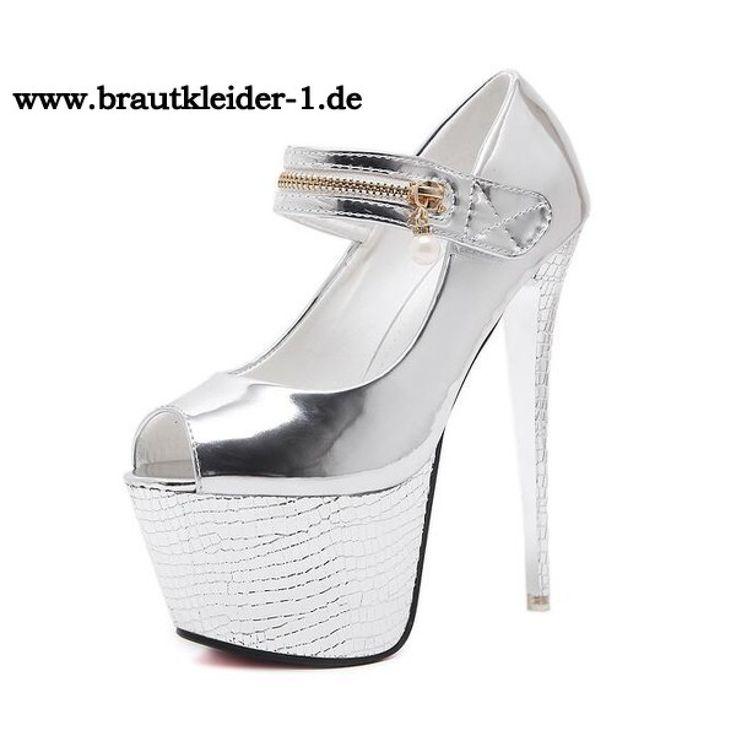 Sexy Plateau Damen Schuhe fuer den Standesamt Silber