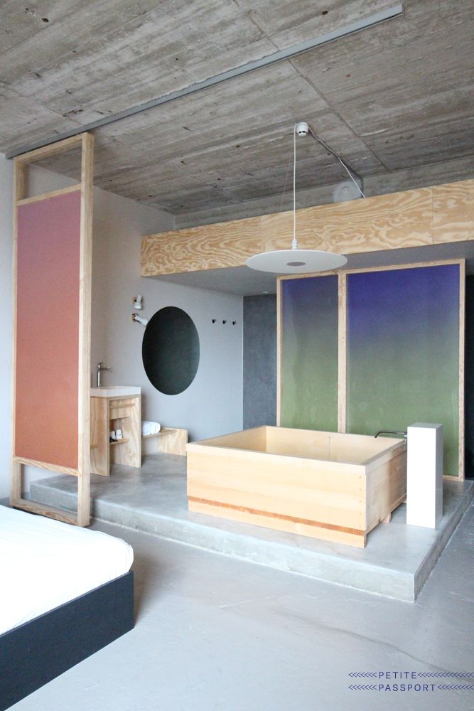 Volkshotel is already featured in The Amsterdam Guide and on Petite Passport since their opening but there was one special room I really wanted to try. It's called Bathing Bikou and this room (number 505) is inspired on Japan and their bathing culture. The designer...