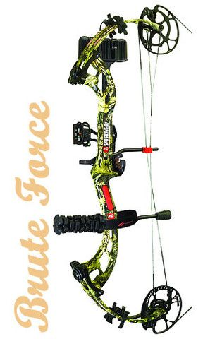 """The PSE Brute Force RTS Compound Bow Package. RH/LH, $549,99 USD. Axle to Axle: 31 1/4"""", Brace Height: 6"""", IBO Speed: 332 fps, Letoff: 80%, Mass Weight: 4.2 lbs., Draw Length Range: 25""""-31"""", Draw Weight 60-70 lbs. Package includes: Gemini sight, whisker biscuit rest, Flexxtech 3 stabilizer, Shadow quiver, PSE neoprene sling, peep sight and a nock loop Visit here to have a look on our Compound Bow http://dld.bz/e2TaT. Need info concerning Bow Selection? Visit our Blog on www.hunting-bow.com"""