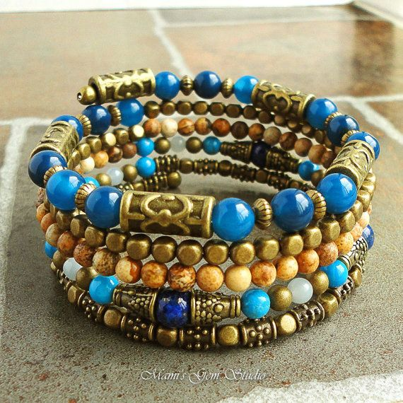 Blue Stone Memory Wire Bracelet Beaded Bangle by mamisgemstudio