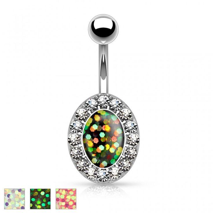 Piercing nombril ovale opale pailletée