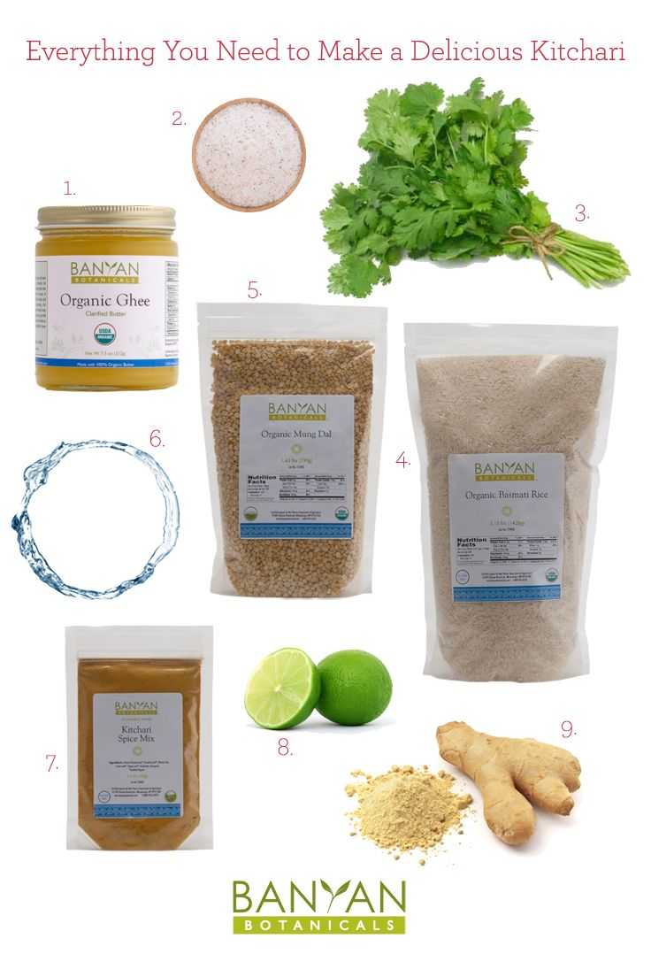 Everything You Need to Make a Delicious Kitchari:1. Organic Ghee 2. Mineral Salt 3. Fresh Cilantro 4. Organic Basmati Rice 5. Organic Mung Dal 6. Pure Water 7. Kitchari Spice Mix 8. Fresh-squeezed Lime 9. Ginger Root Find our recipe at www.banyanbotanicals.com/using-your-spice-mix