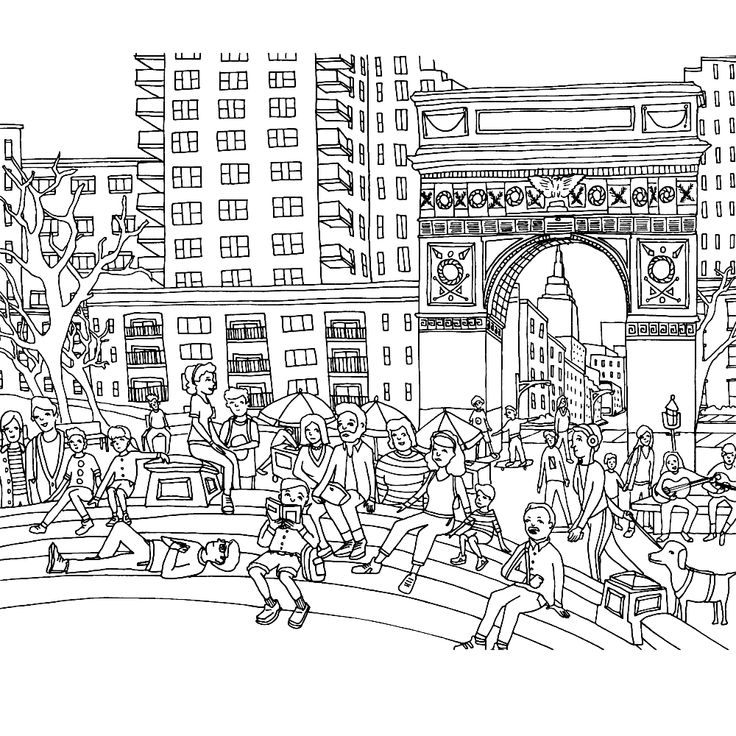 coloring page of washing sqaure park in greenwich village from color this book new york city - Abbi Jacobson Coloring Book