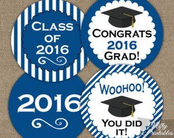 Blue and White Graduation Decorations Printable by ABOcustomDesign