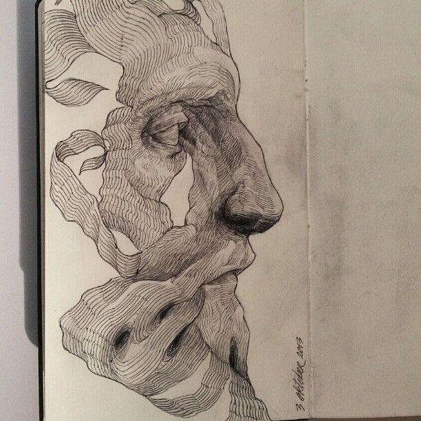 Sketch - ritratto - profilo - anatomia - occhio - Drawing