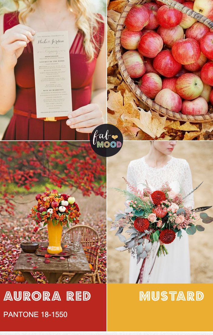 We suggest pairing this Pantone Aurora Red and Mustard wedding by using this delicious hue for table decorations. Aurora red and mustard Wedding colour