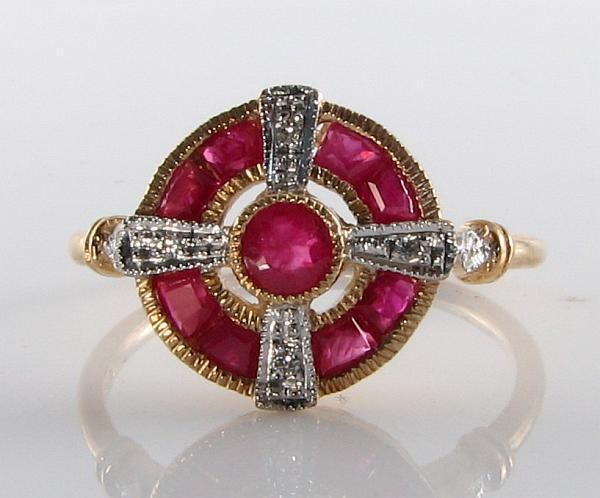 LOVELY 9CT GOLD INDIAN RUBY DIAMOND ART DECO INS RING FREE RESIZE