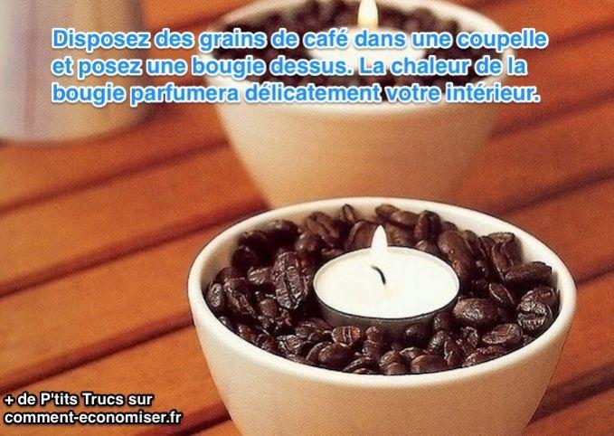 Gardez votre argent et fabriquez une bougie parfumée en moins de 10 secondes. Quelques grains de café et une bougie chauffe-plat suffisent à créer une ambiance chaleureuse et naturelle.  Découvrez l'astuce ici : http://www.comment-economiser.fr/bougie-interieur-gratuite.html?utm_content=buffer0f20a&utm_medium=social&utm_source=pinterest.com&utm_campaign=buffer