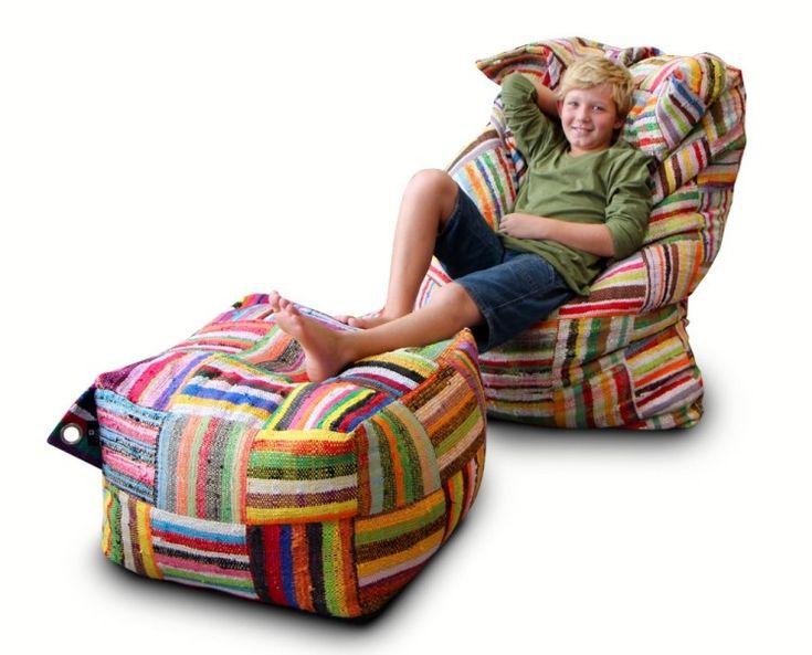 patchwork-facile-pouf-fauteuil-carré-rayures-multicolores patchwork facile