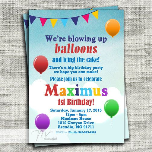 14 best nolans first birthday balloons images on pinterest balloons birthday invitation up up and away birthday invitation 1st birthday balloons party invitation printable diy filmwisefo Image collections