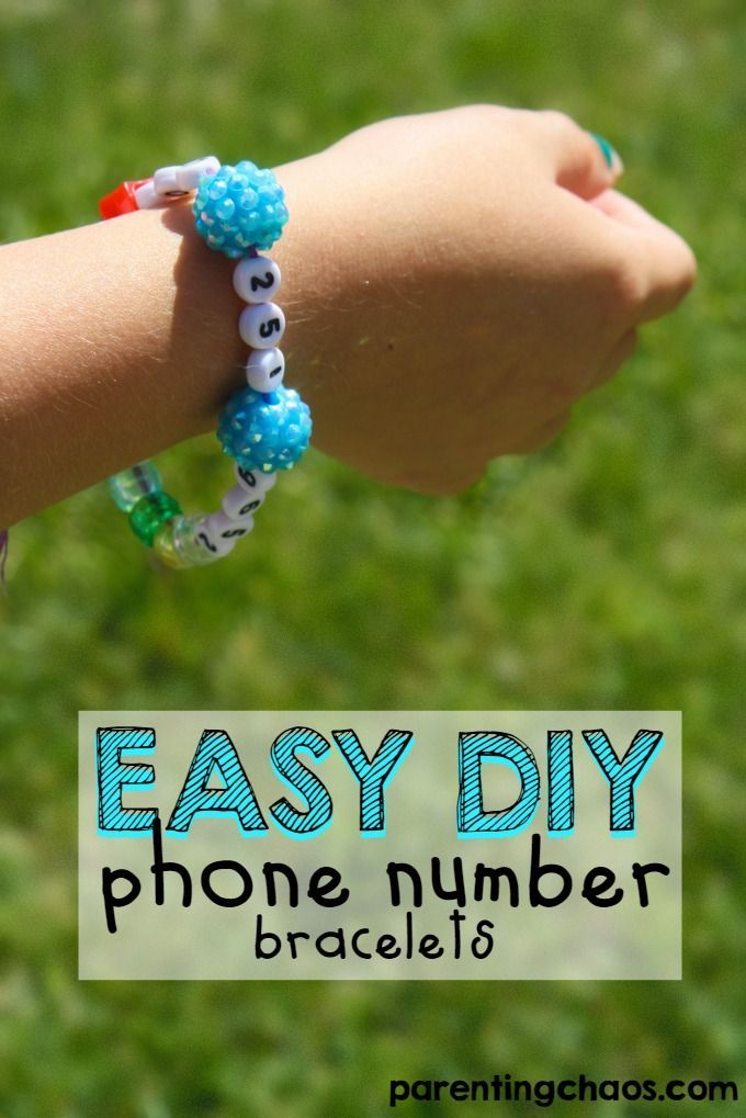 Kids Cell Phone Number Bracelets! Make a phone number bracelet for your kids safety at Theme Parks and other public places. These are also awesome for kids who are just starting to learn their phone number!