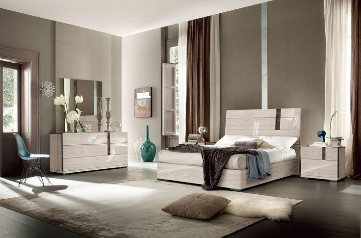 neutral colors and wood grained frame for contemporary bedroom