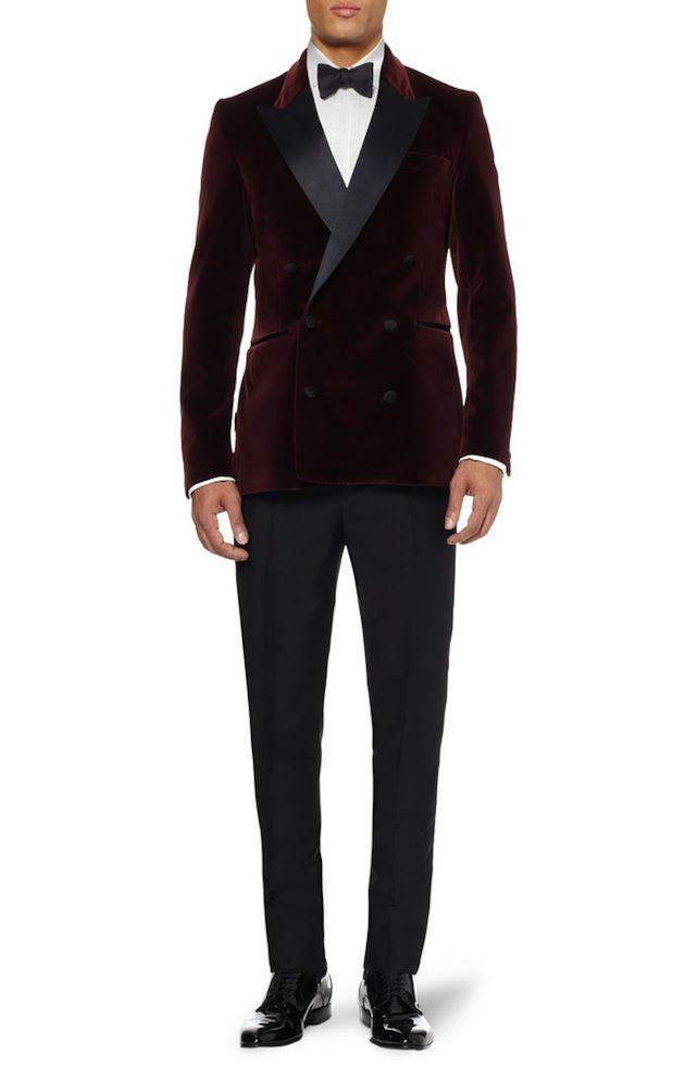Acne Grant Slim-Fit Velvet Burgundy Tuxedo Jacket | UpscaleHype