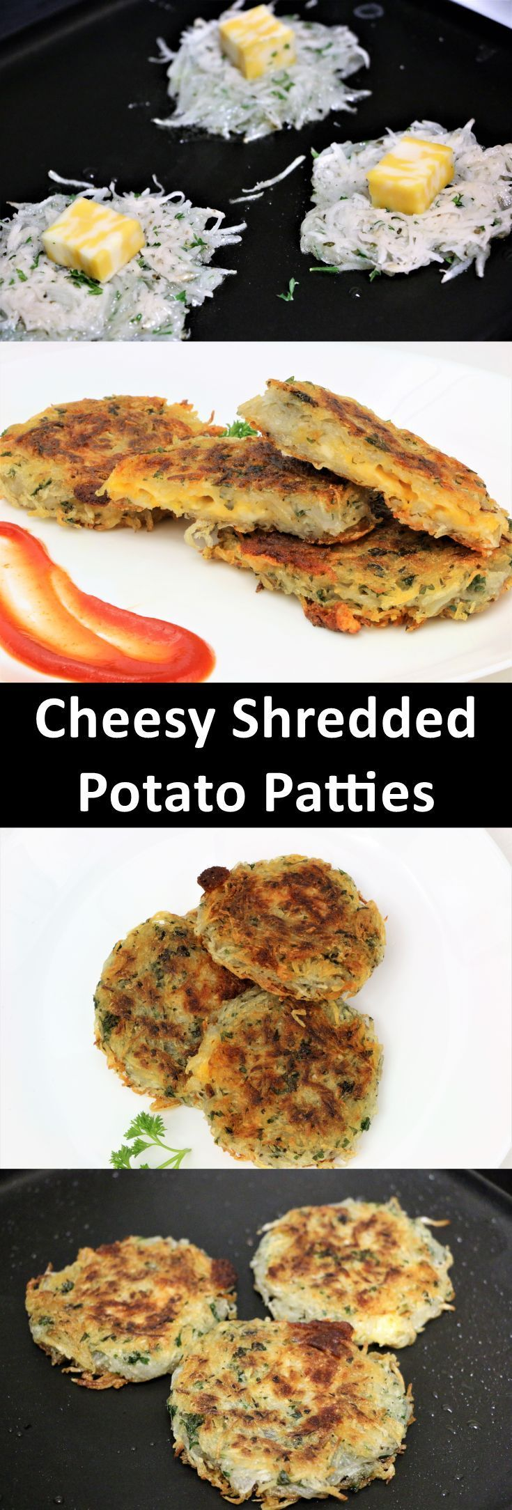 Cheesy Shredded Potato Patties are one of the easiest version for snacks. These are crispy on the outside and fluffy and creamy on the inside. By removing excess moisture and cooking them on a medium to low flame , you will get extra crunchy and golden patty. This is ready in no time. You can also make this for fasting like Navaratra Vrat, ekadashi, Janmashami. Instead of corn flour, add arrowroot flour if you are making it for vrat.