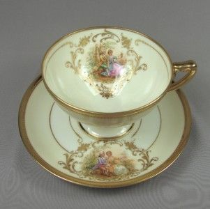 Antique Dresden Footed Cup Saucer A Lamm Romantic Gold Beading German, SOLD via eBay 8/13  $157.50