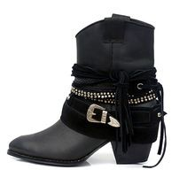 Marka Tasarımcısı Kadın Ayak Bileği Çizmeler Sonbahar Kış Hakiki Deri Slip-On Ayakkabı Püskül Toka Kayış Kovboy Çizmeleri(China (Mainland))