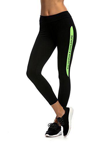 JIMMY DESIGN Damen Leggings für Fitness, Workout und Yoga - Schwarz/Printed Wörter in Grün - XL - http://on-line-kaufen.de/jimmy-design/42-44-taille-76-81cm-jimmy-design-damen-leggings-s-m-11