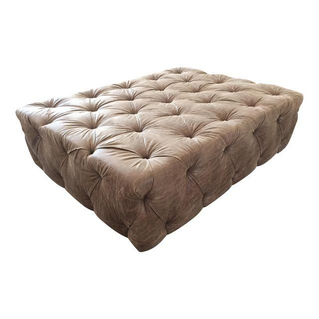 Image of Custom Tufted Faux Leather Ottoman