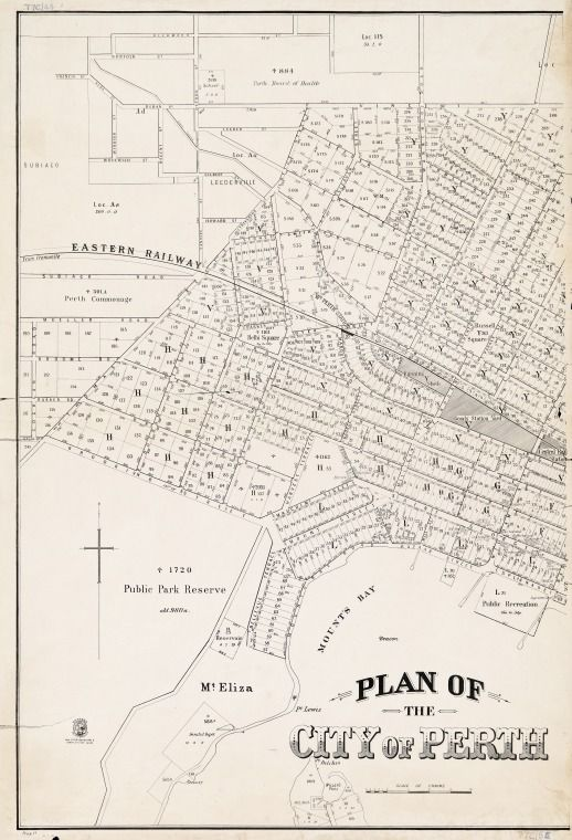 PERTH, Sheet 1. Cadastral map covering area bounded by North Perth, Subiaco, Mt. Eliza, East Perth and Mount Lawley. Part of collection: Townsite maps, Western Australia. https://encore.slwa.wa.gov.au/iii/encore/record/C__Rb1959691