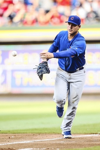 Cubs first baseman Anthony Rizzo tosses the ball to first for an out in the first inning of Thursday night's game. 7/5/12