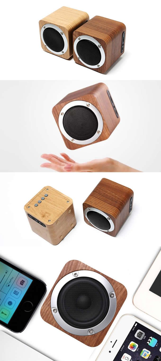 Wooden Cube Shaped Portable Bluetooth Speaker Products I Love In