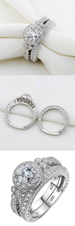 Newshe Vintage Bridal Set Round White Cz 925 Sterling Silver Wedding Engagement Ring Set Size 7
