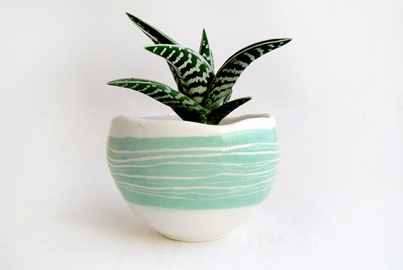 Glazed Spherical Earthenware Planter with  Details in Turquoise Green,Striped Sgraffito and Drainage Hole for the Water. Ready To Ship