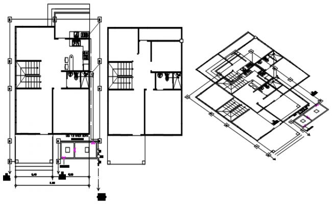 Dwg file of residential bungalow plumbing layout