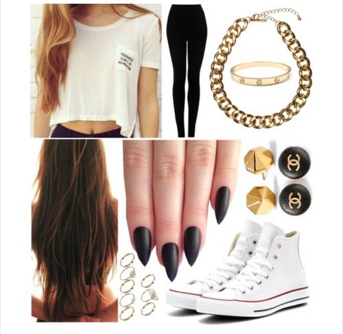 Image via We Heart It #black #chanel #chic #clothes #converse #cute #edgy #fashion #gold #hair #high #homework #jewelry #leggings #mermaids #nails #shoes #stiletto #style #top #tshirt #white #brandy #melville