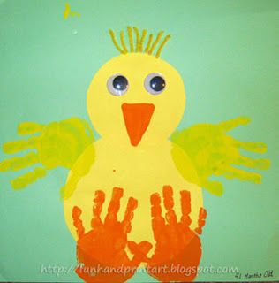 Hand print chicks, cute Easter idea (note to self; use all 3 babies hands in the various spots on same chick)