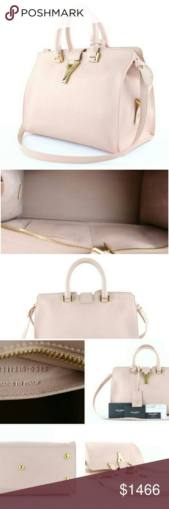 "Saint Laurent Ligne Cabas Chyc Y 2way Satchel This item will ship out immediately.  Previously owned, unless otherwise stated.  Includes: Envelope, booklet, tag, info card, care tag, and clochette with key ring  Signs of Wear: Light rubs on exterior. Light tiny marks at interior and hardware.  This item does not come with any extra accessories.  Please review photos for more details.  Color appearance may vary depending on your monitor settings.  Measurements:11.75""L x 8""H x 6.25""W  Gently…"